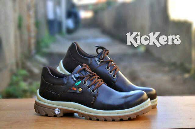 sepatu boot safety ujung besi kickers rope coklat