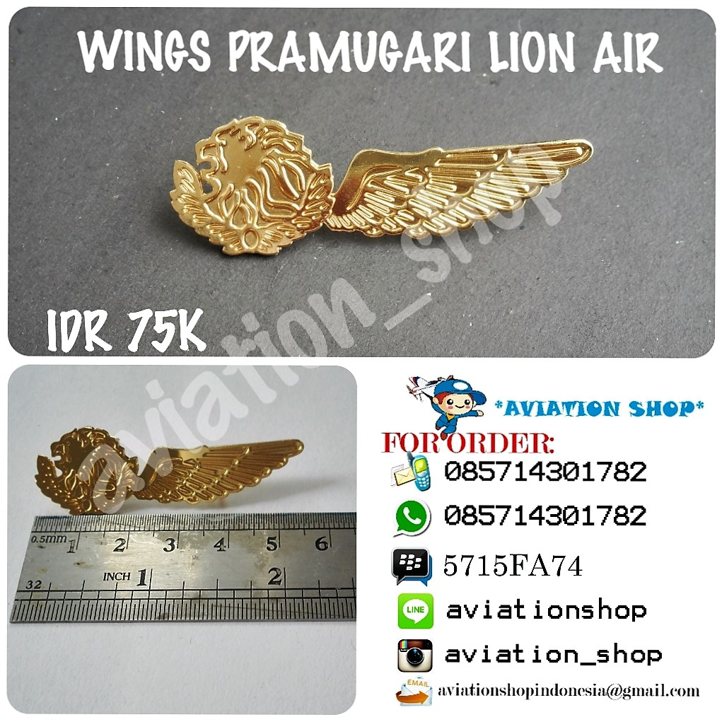 Jual Wings Pramugari Lion Air Aviation Shop Indonesia Tokopedia Wing Pilot Garuda