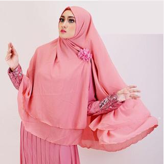 Khimar hijab Jilbab Ceruti Jumbo Instan 2 layer