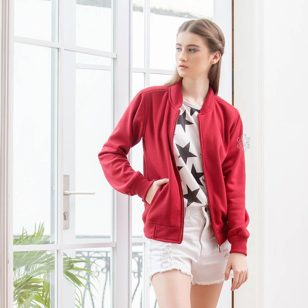 Jual Jaket Bomber Murah Kece Ngehits Promo Baju Atasan Santai Wanita Maroon Remaja Naranya Shop Tokopedia