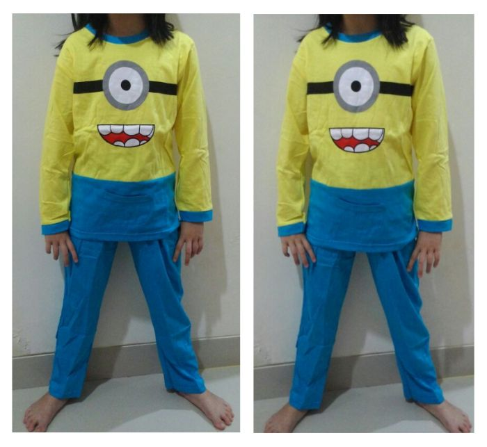 STKD253 - Setelan Piyama Anak Minion Carl Yellow Blue Pocket Murah