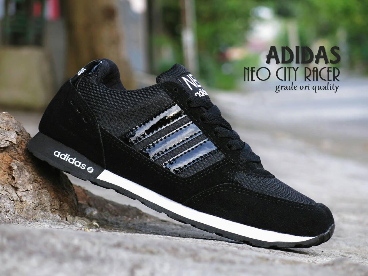 ... ireland jual sepatu sport adidas neo city racer grade ori full black  hitam lapak sepatu sby 222a11d425