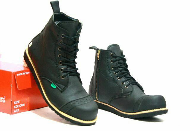 sepatu boot safety ujung besi kickers pajero black