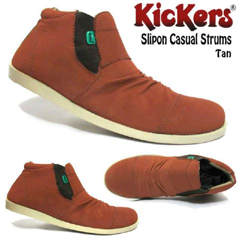 sepatu kickers slip on casual strums tan
