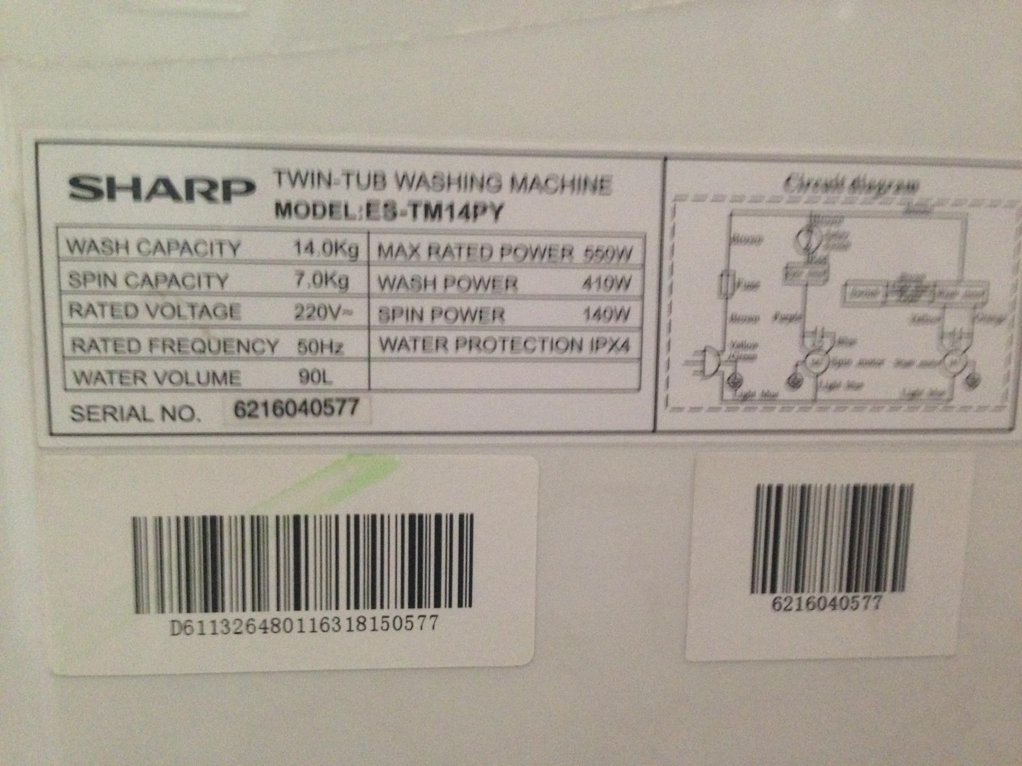Jual Mesin Cuci Sharp 2 Tabung 14 Kg ES TM14PY