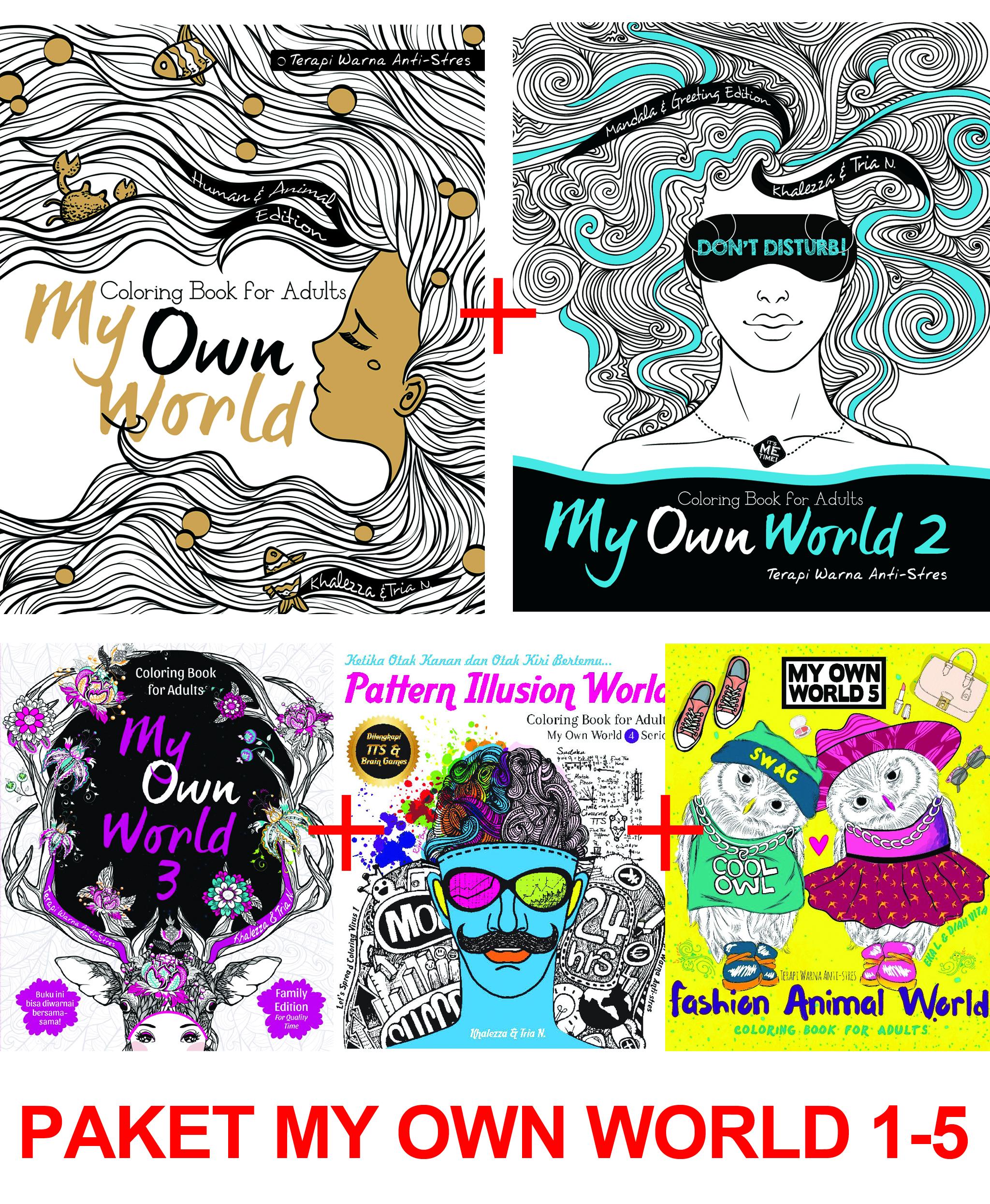 Jual Renebook Paket My Own World Coloring Book For Adults 1 5 Mewarnai Turos Tokopedia