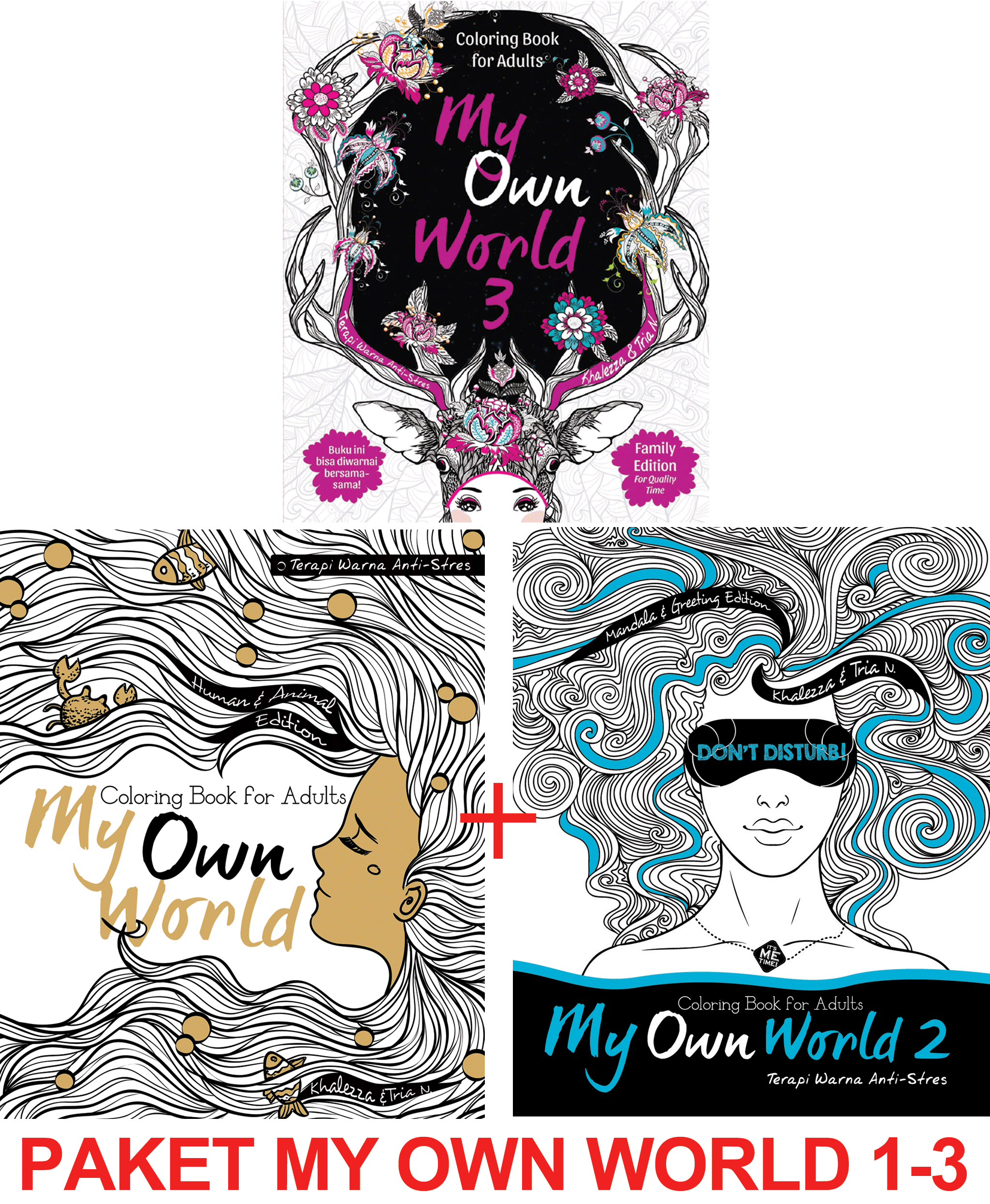 Jual Paket My Own World Coloring Book for Adults Buku mewarnai 1 3 Renebook Turos