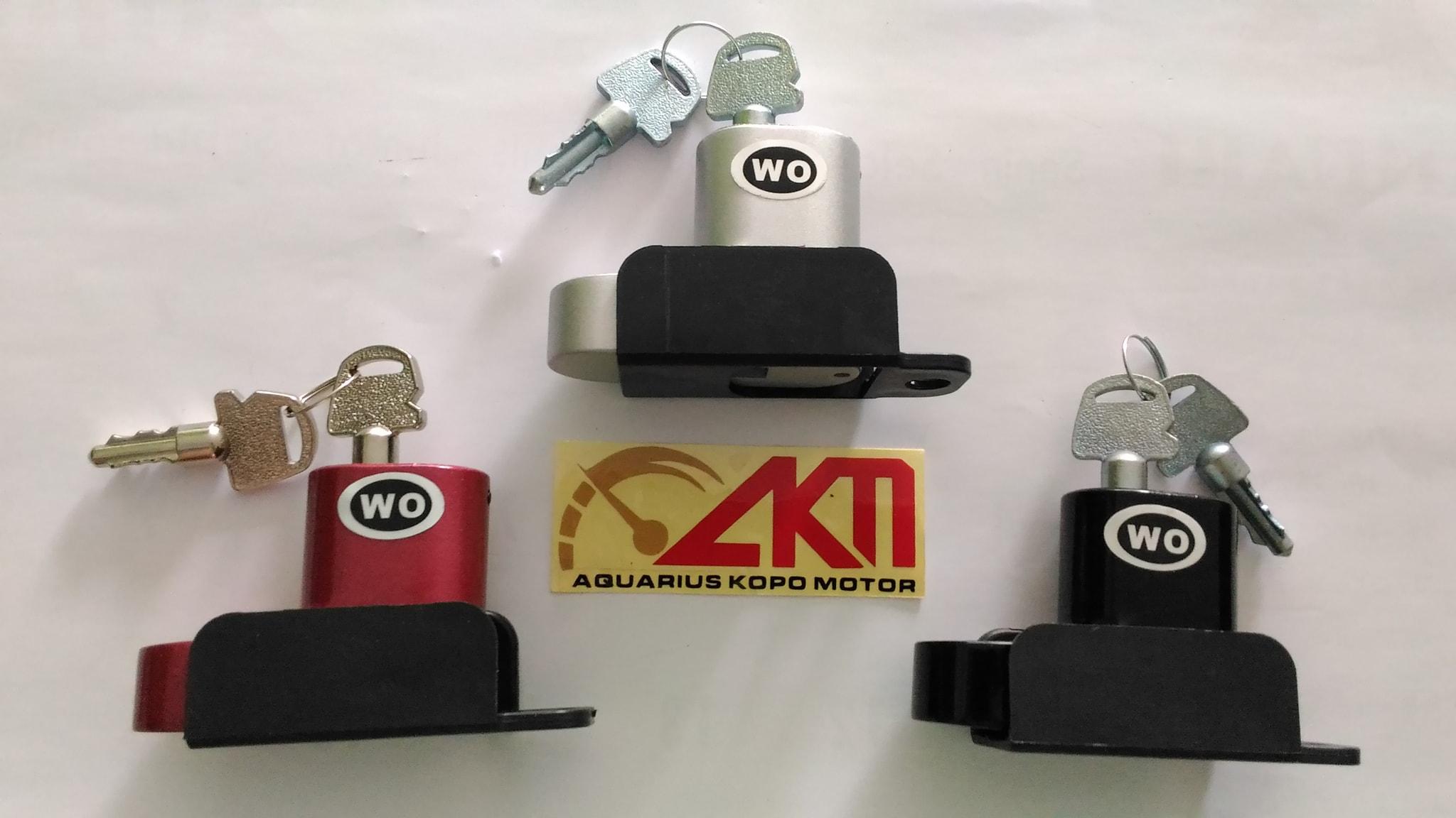 Kunci Cakram WO / Gembok Cakram Motor Dengan Tempat Dudukan Universal