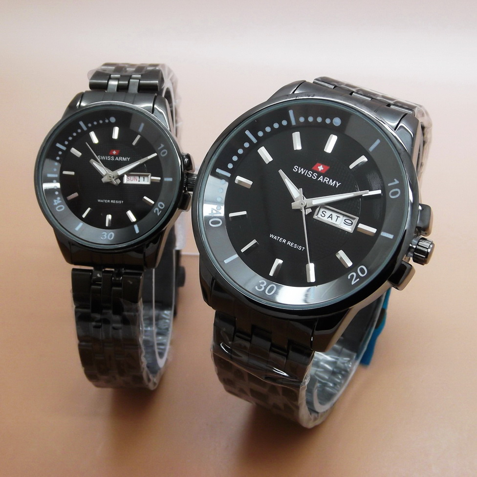 Jam Tangan Swiss Army SA Couple Daydate Rantai New Full Black