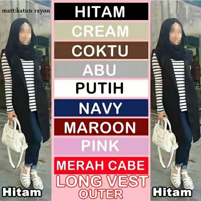 ROMPI LONG VEST OUTER , KATUN RAYON , HIJAB FASHION