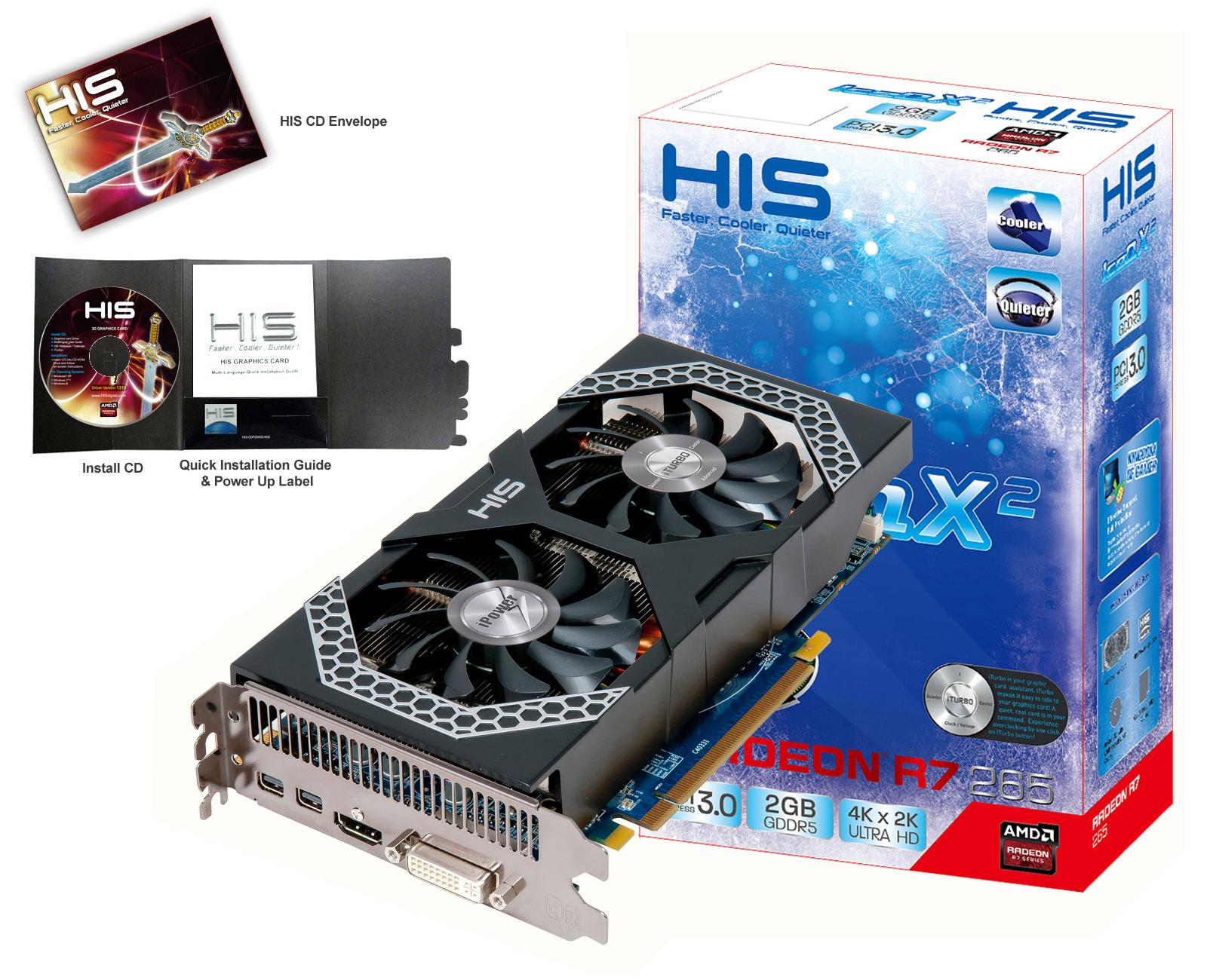 HIS Radeon HD R7 265 IPower IceQ X2 Boost Clock 2GB DDR5