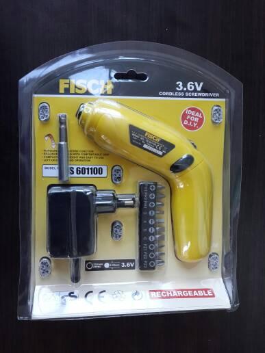3,6V Cordless Screwdriver FISCH TS 601100, Mesin Bor Obeng