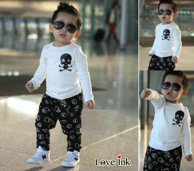 STKDL8 - Setelan Anak Skull Boy White Murah