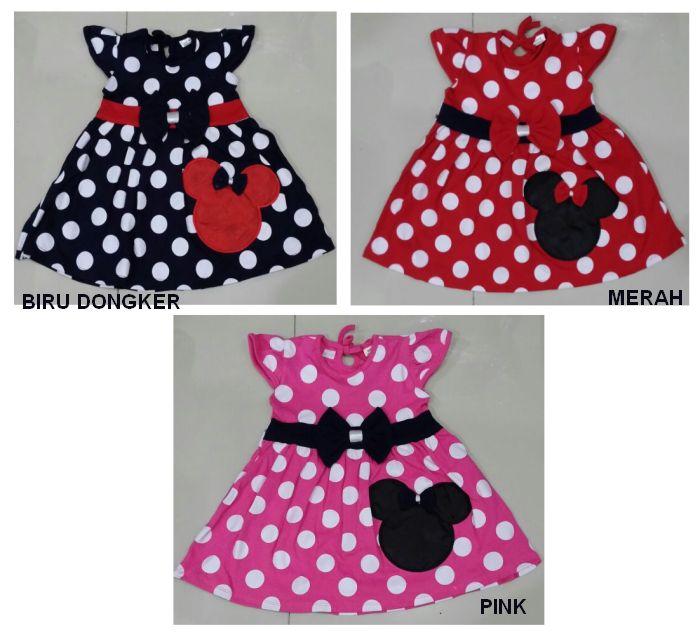 DRKD110 - Dress Anak Polkadot Minnie Mouse Ribbon Murah