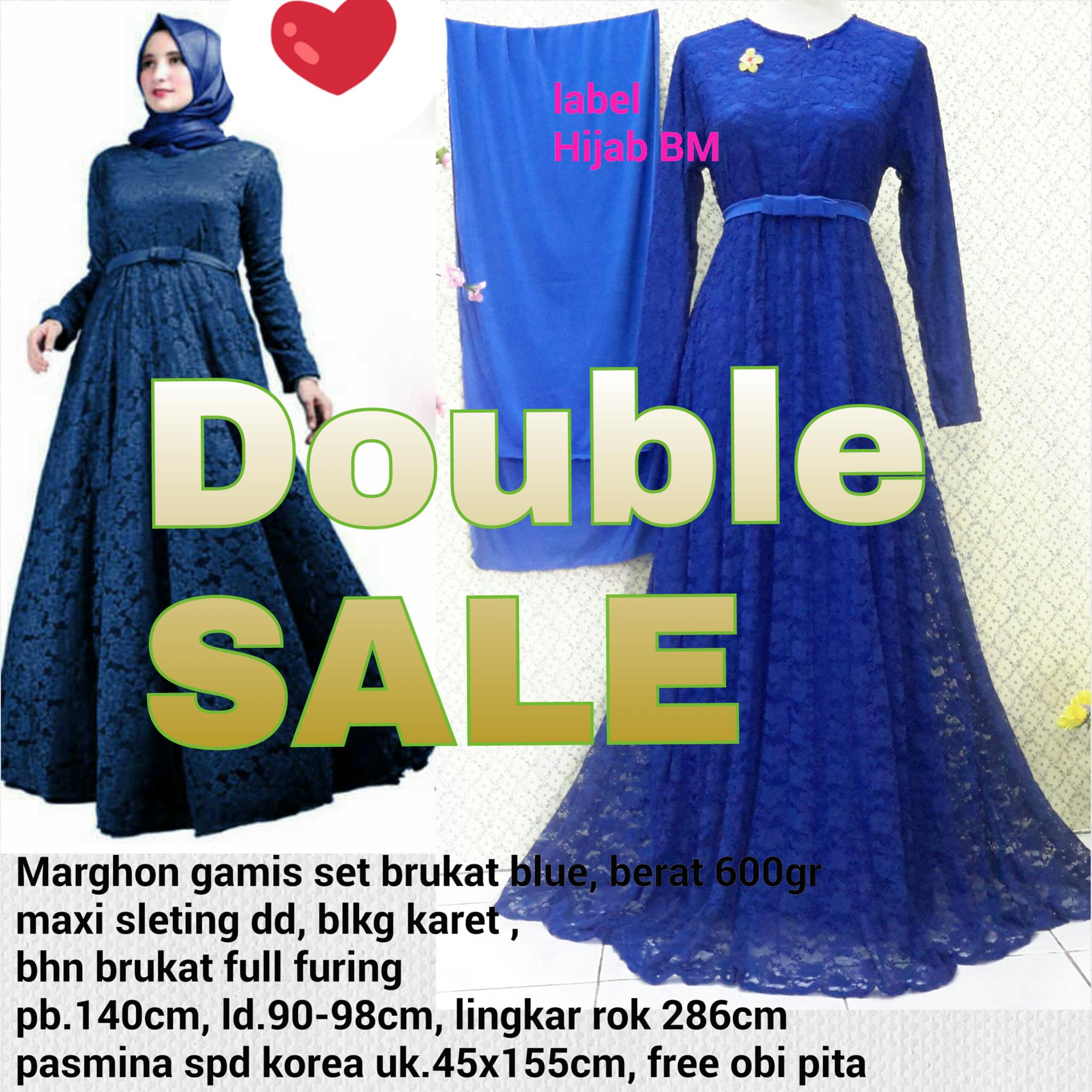 new marghon gamis set brukat busui lapis furing rok lebar, hijab bm,