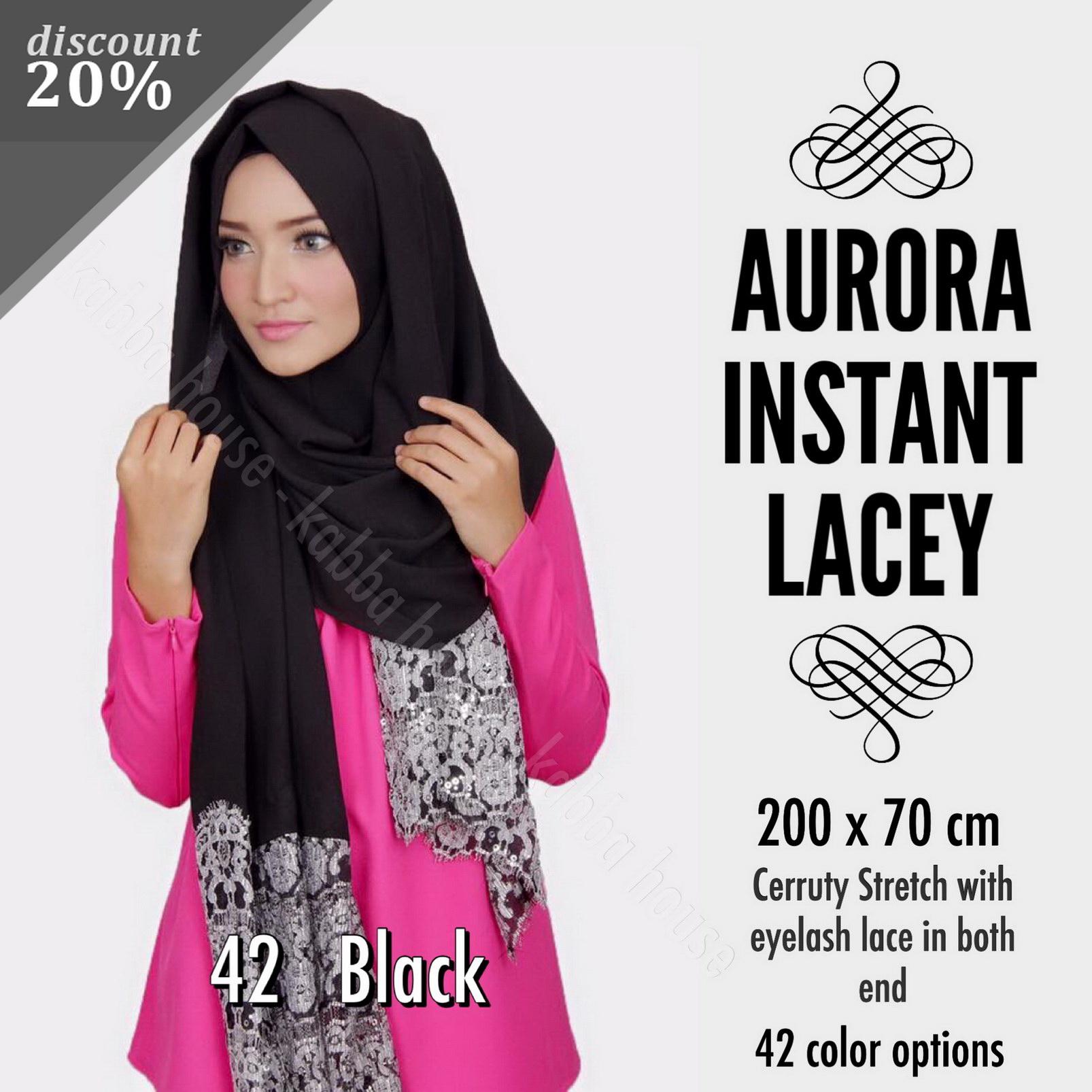 Aurora Instant Lacey Black | Shawl | Pashmina | Hijab