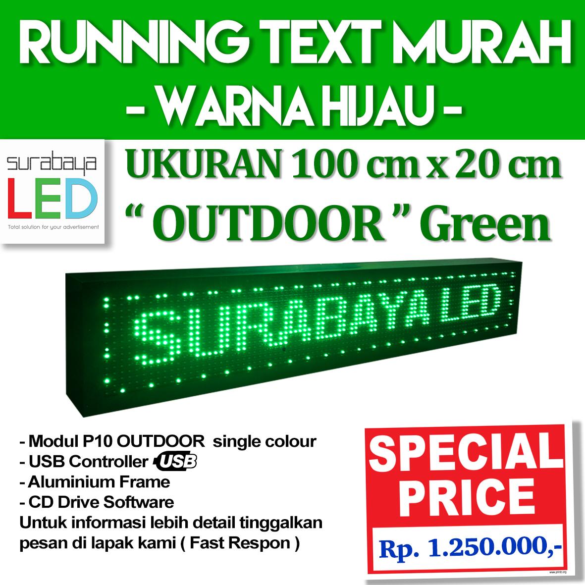 Jual Running Text Outdoor Murah Warna Hijau Uk 100 X 20cm Surabaya Modul Panel Led P10 Green Tokopedia
