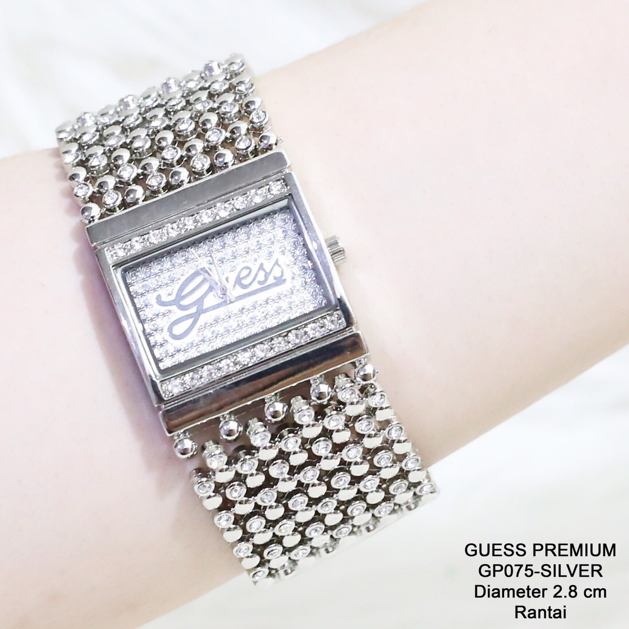 Jam tangan guess rantai silver grosir termurah fashion casual formal