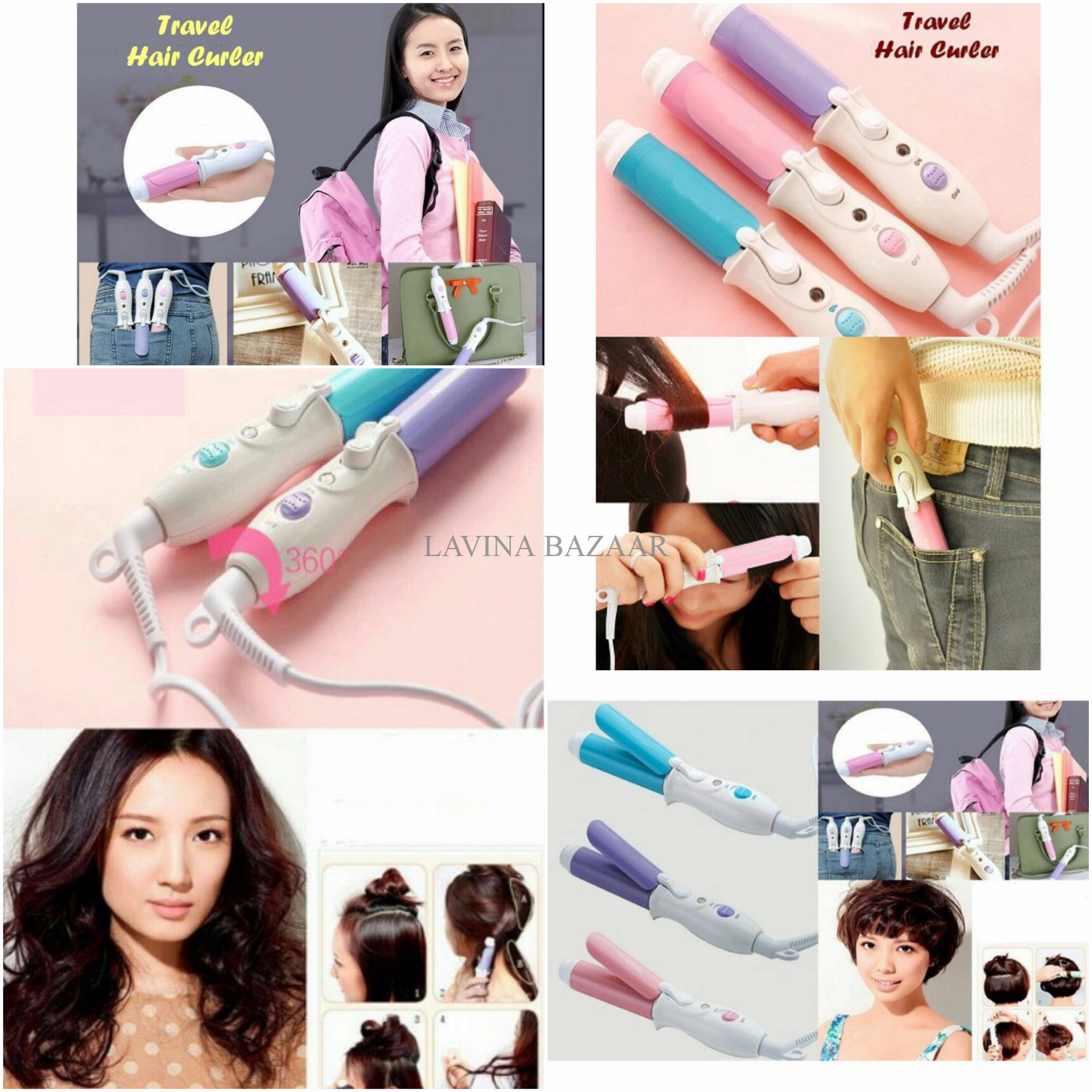 Jual Mini Travel Hair Curler Catok Rambut Lavina Bazaar Tokopedia