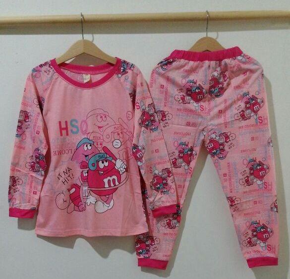 STKD257 - Setelan Piyama Anak Pink M&M Baseball Murah