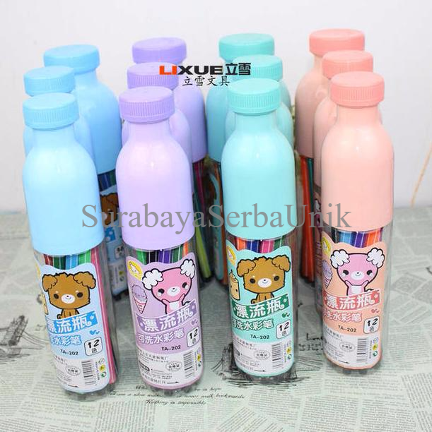 Set Pulpen Warna Dalam Wadah Botol (12 Warna) ZZ19