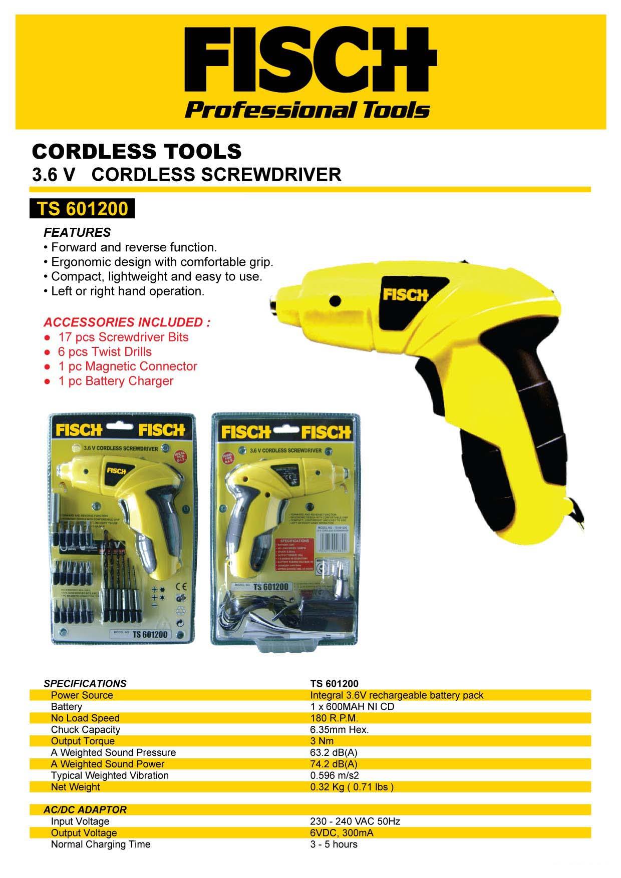 Cordless Screwdriver / Mesin Obeng / Mesin Bor Portable FISCH TS6012