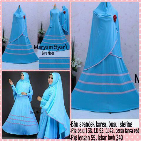 Gamis Syari Terbaru Maryam Biru Muda (Murah Modern Cantik Modis)