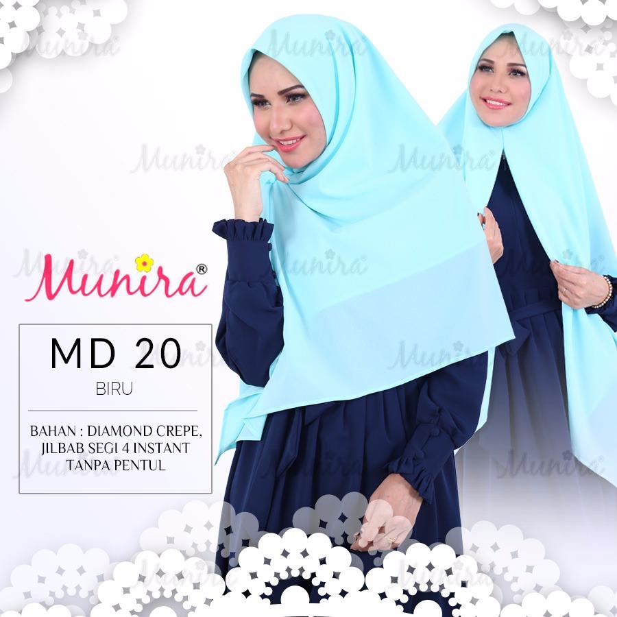 Jual Munira Md20 Jilbab Instan Segi Empat Polos Bahan Diamond Crepe
