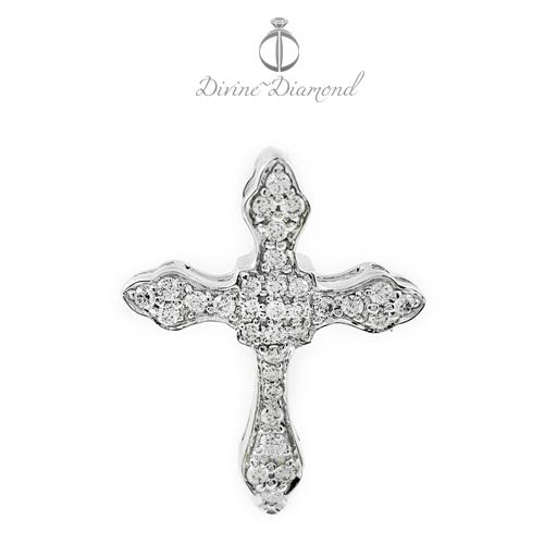 Liontin Salib Berlian Kalung Emas Putih Pendant Diamond - HE160916
