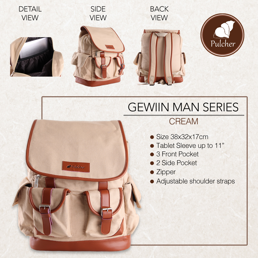 Jual Tas Pulcher Gewiin Man Cream Bag 100 Original Ransel Sekolah Kuliah Laptop Cowok  Shanum Store Id Tokopedia