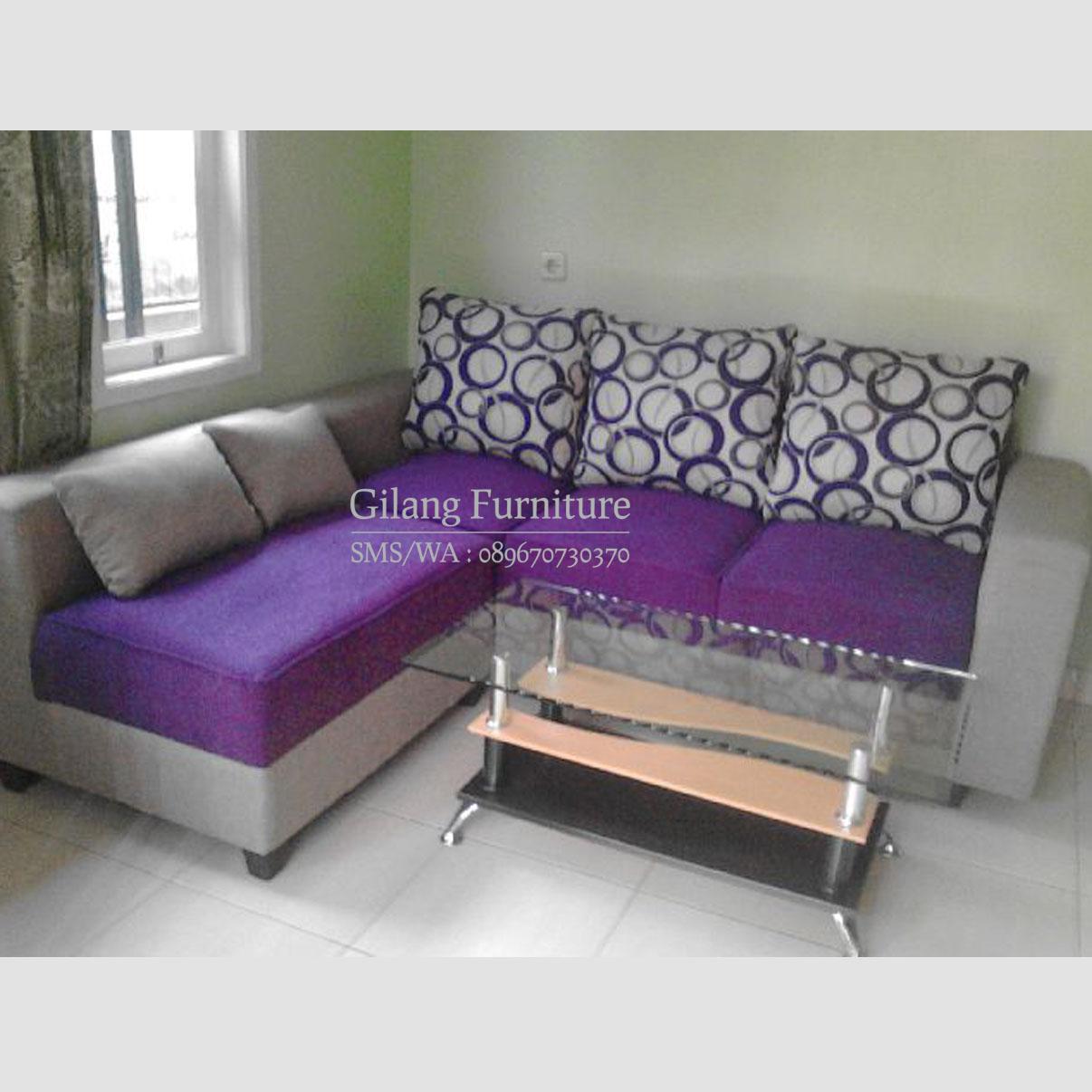 Jual sofa l minimalis murah motif polka ungu gilang for Sofa jakarta