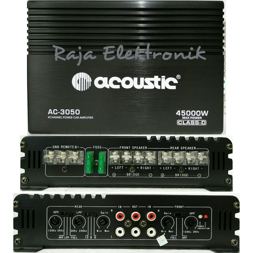Jual Power Ampli Mobil Acoustic Ac-3050 4ch  Power Amplifier  Power Mobil