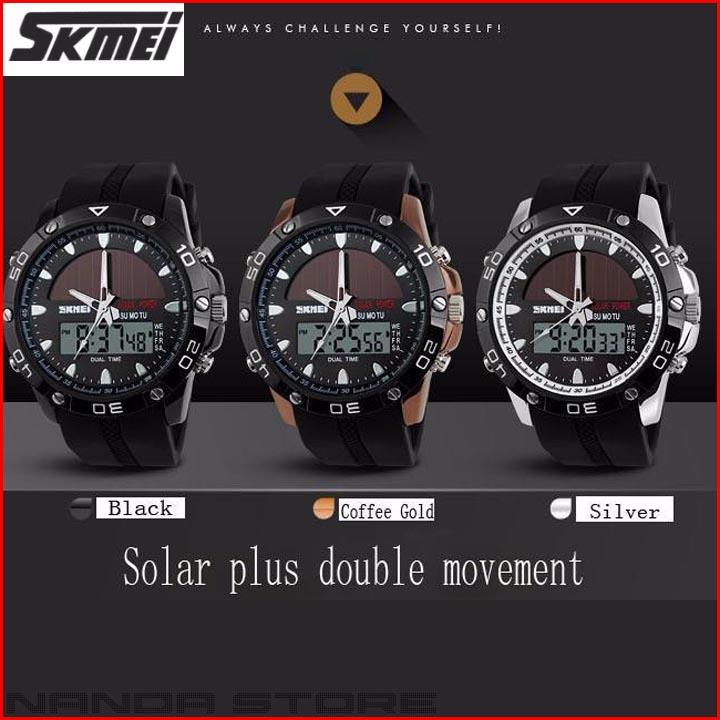 Jam Tangan Pria Tenaga Surya SKMEI Solar Power Sport LED Watch 5ATM