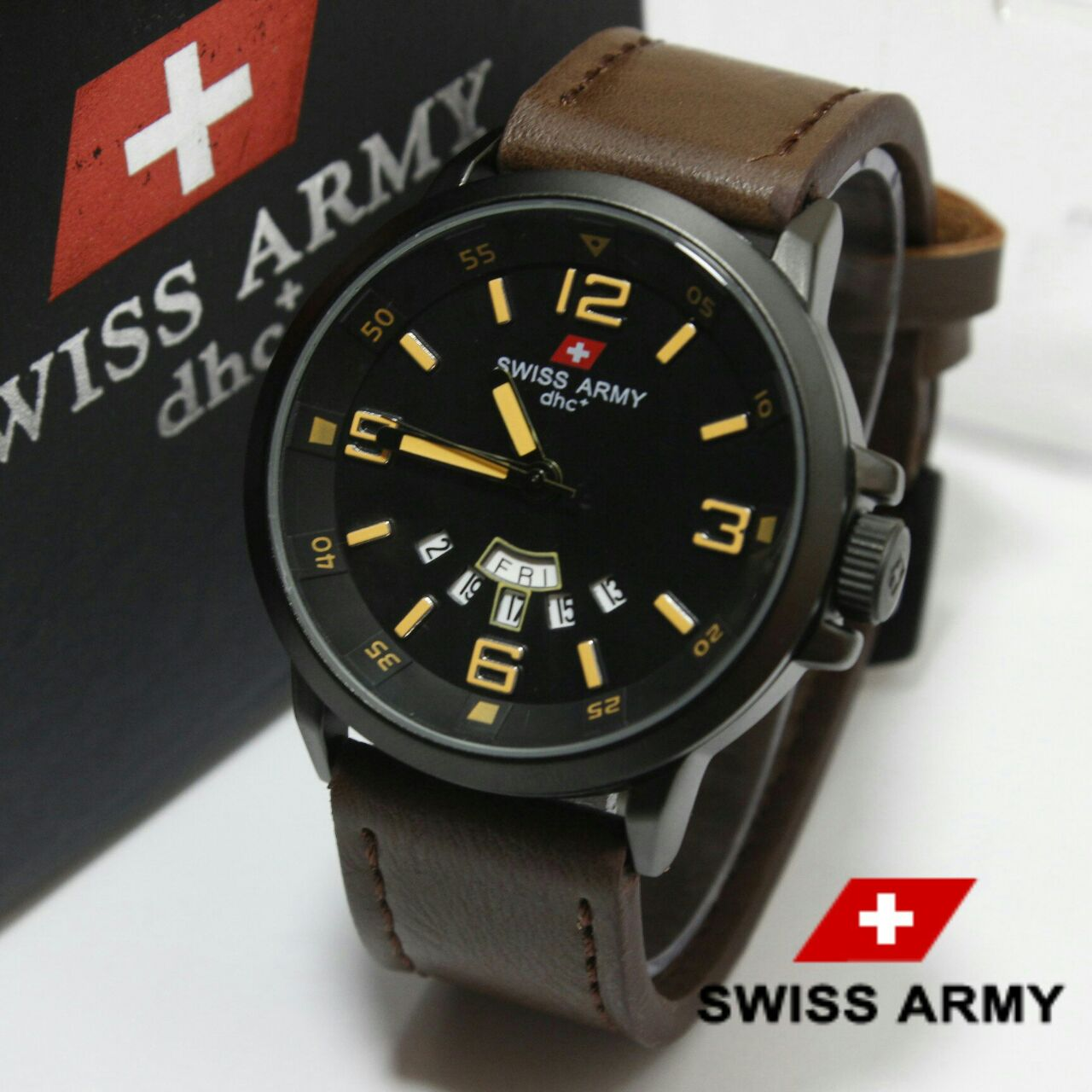 Swiss Army HC-1128 COKLAT LIST KUNING ORIGINAL