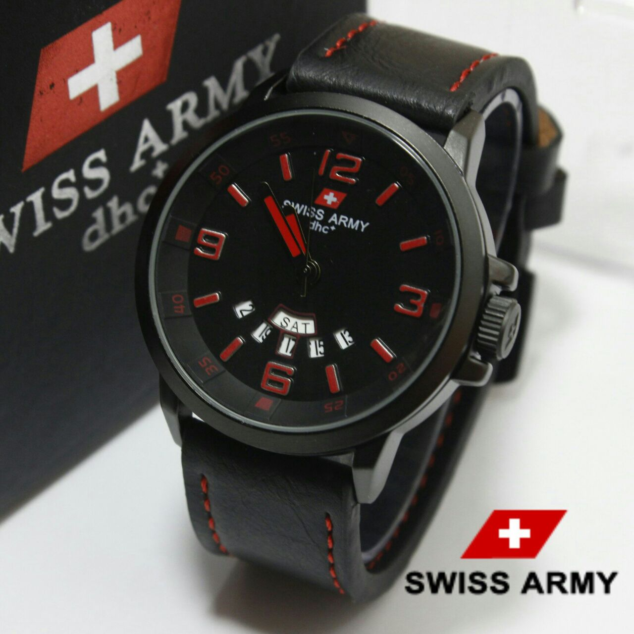 Swiss Army HC-1128 HITAM LIST MERAH ORIGINAL