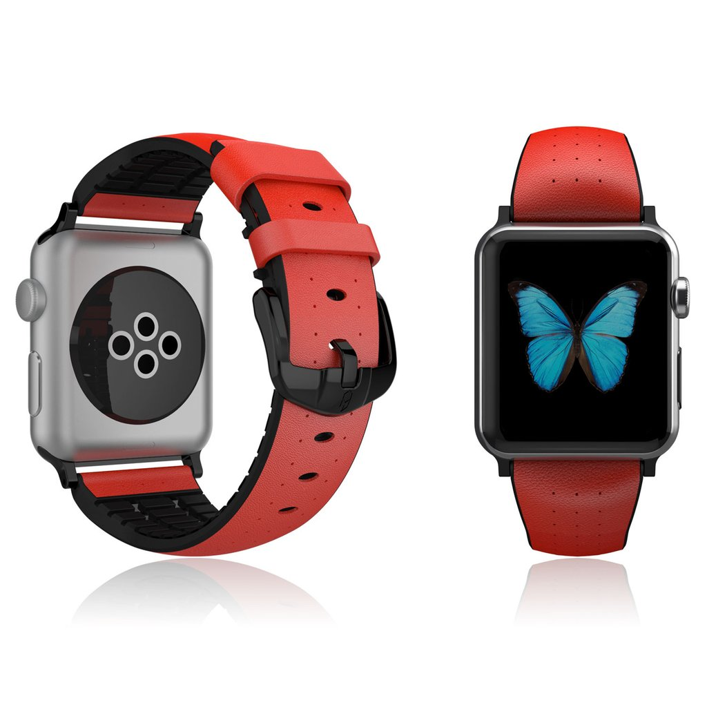 Patchworks Apple Watch 1--2 42mm Letaher Air Strap - Red.