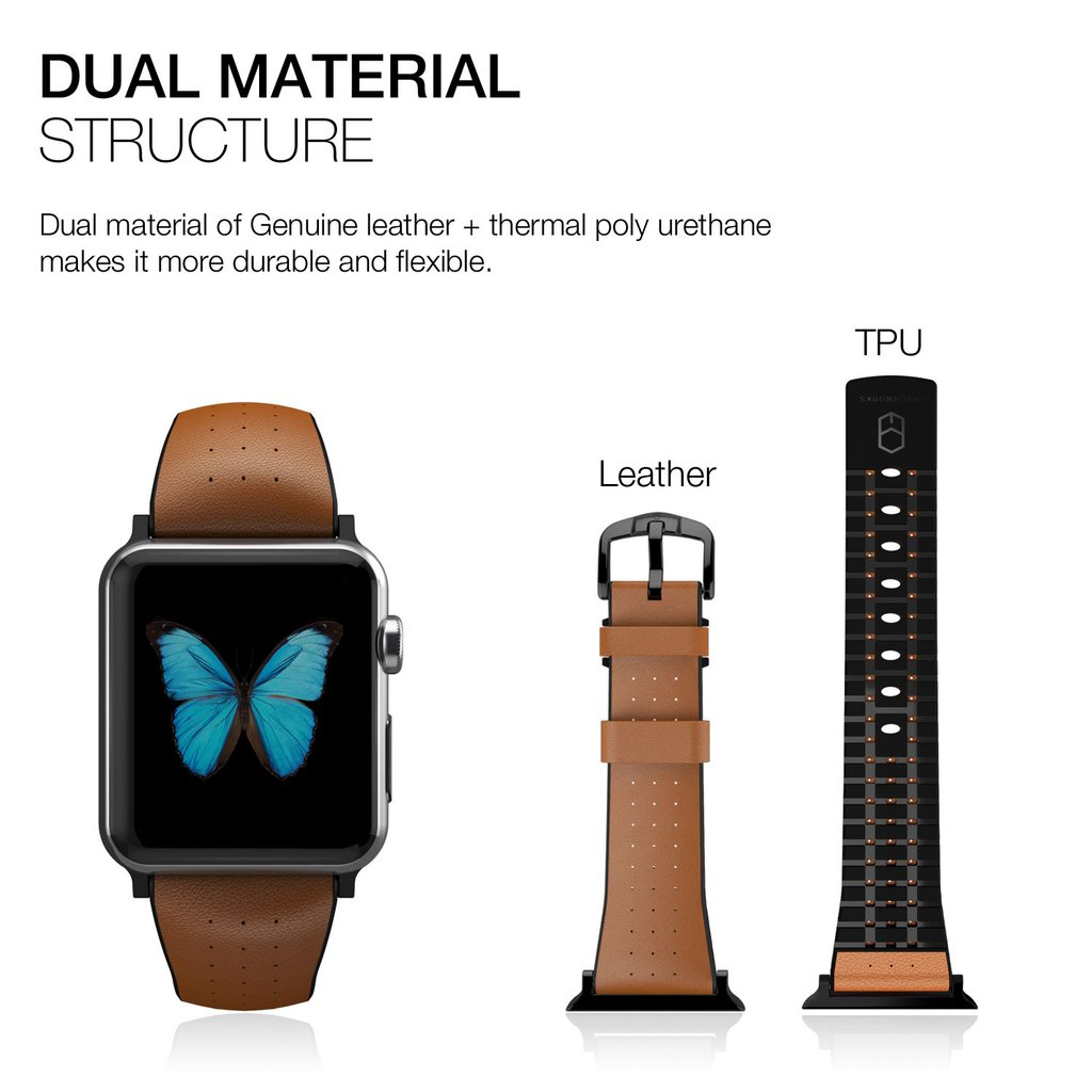 Patchworks Apple Watch 1--2 42mm Letaher Air Strap - Brown.