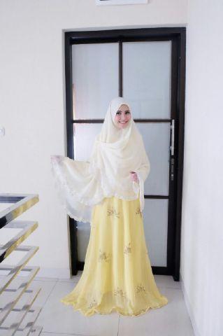 Grosir Gamis Syari Murah Enisa Kuning (Terbaru Murah Modern Cantik)