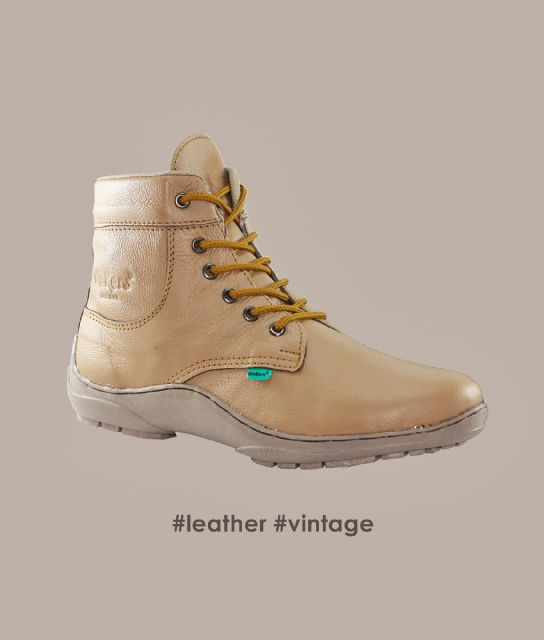 sepatu kickers leather vintage tan kulit