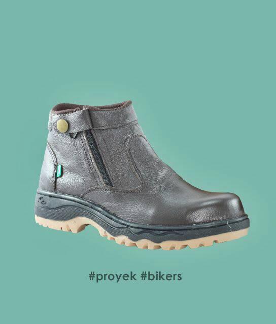 sepatu kickers proyek bikers coklat kulit safety steel toe