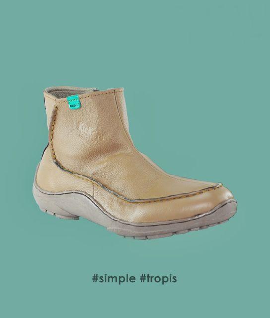 sepatu kickers simple tropis tan kulit