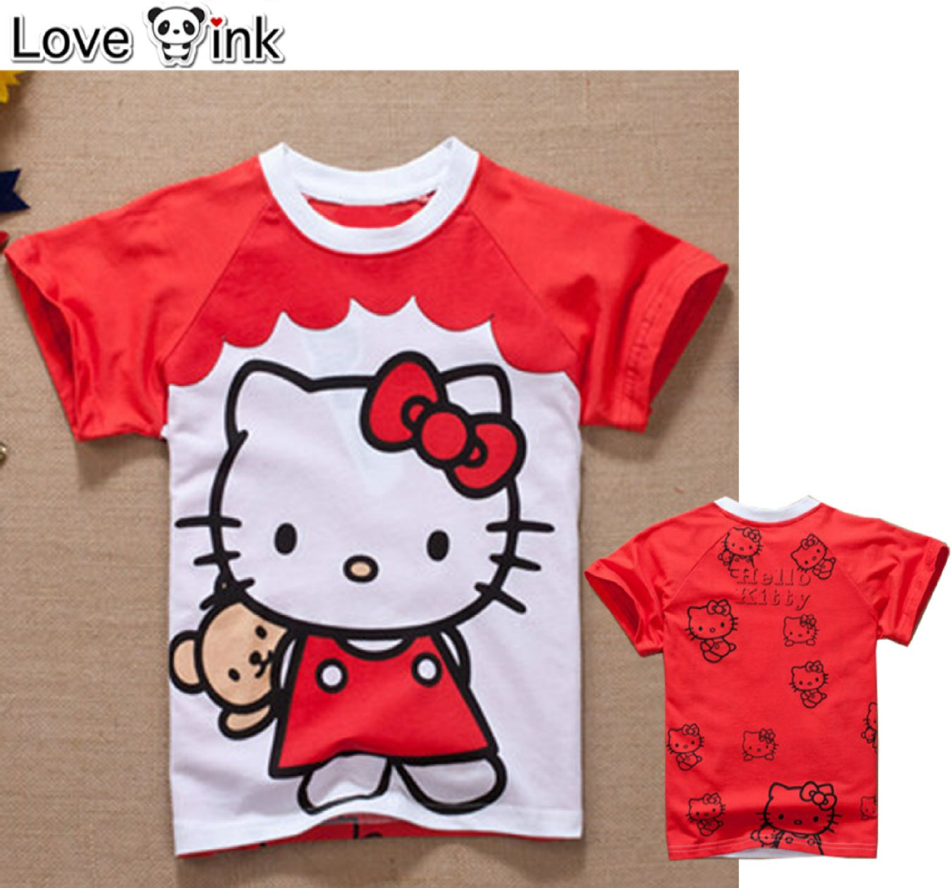 KSKD47 - Kaos Atasan Anak Red Hello Kitty and The Doll Murah