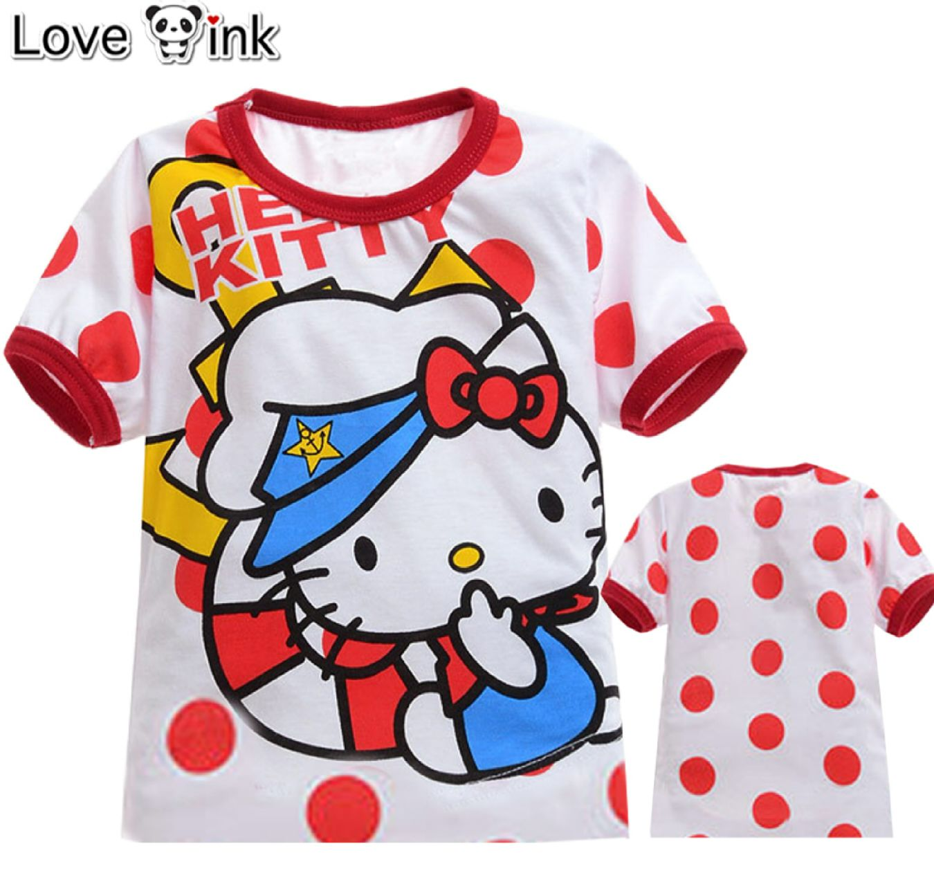 KSKD46 - Kaos Atasan Anak Hello Kitty Sailor Red Dot Murah