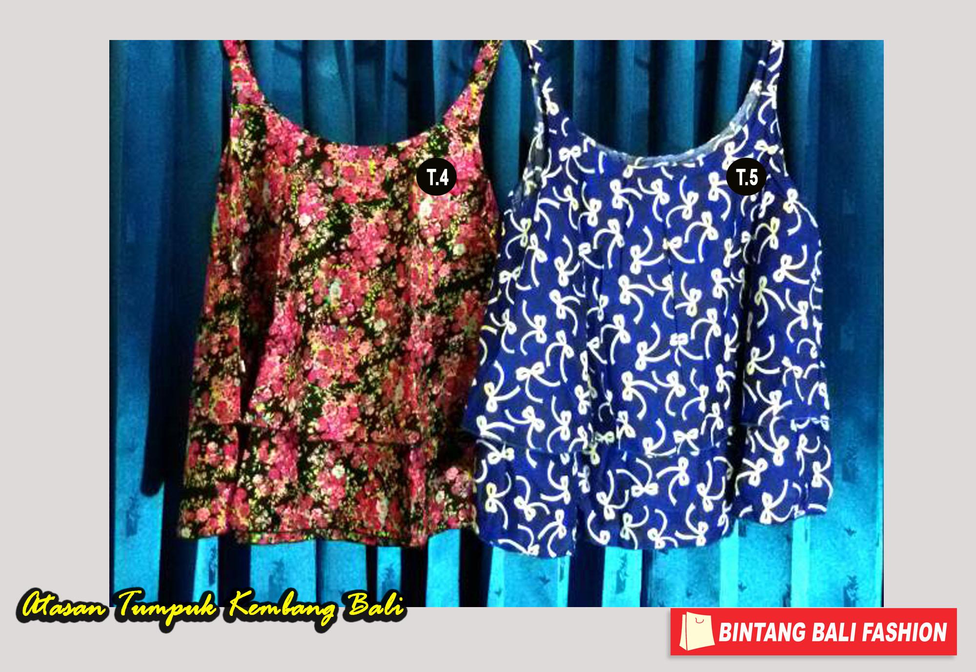 Jual Baju Bali Atasan Tumpuk Tali Motif Kembang