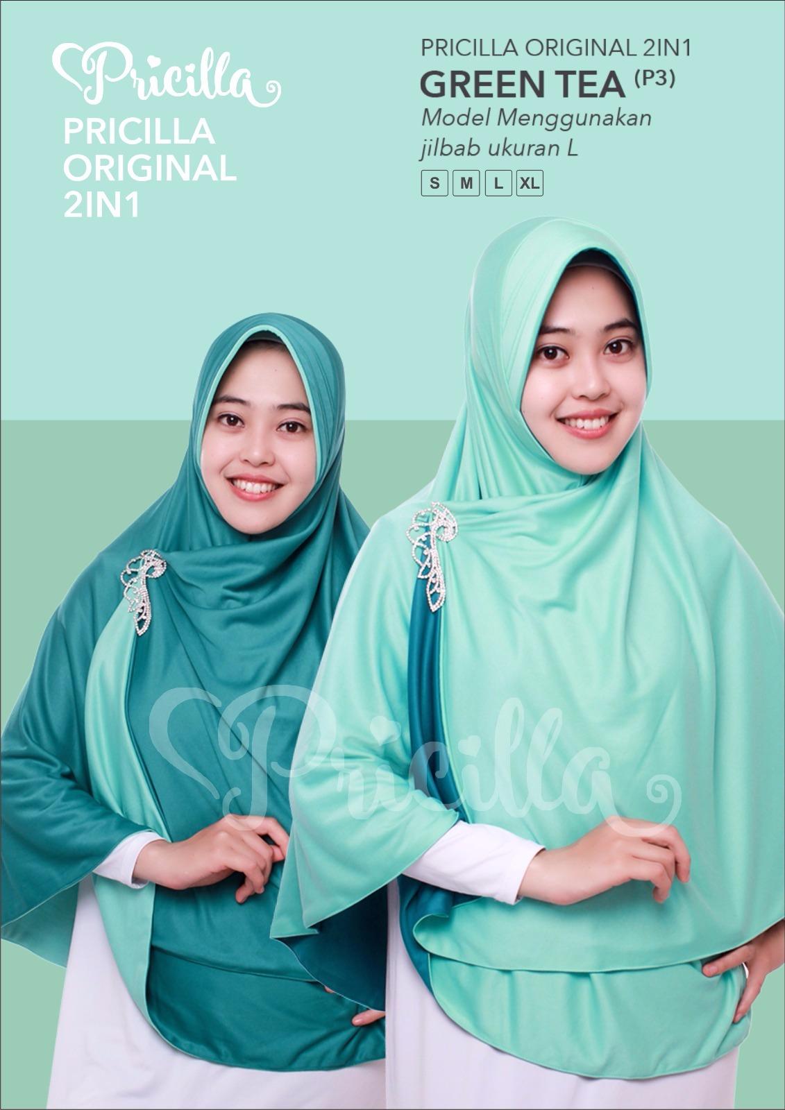 Jilbab Pricilla_bolak-Balik_2in1 Green Tea Ukuran M