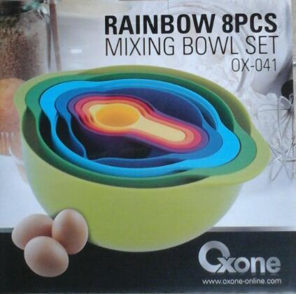 Oxone Mixing Bolw Rainbow 8pcs Perlengkapan Dapur New Produk Unik