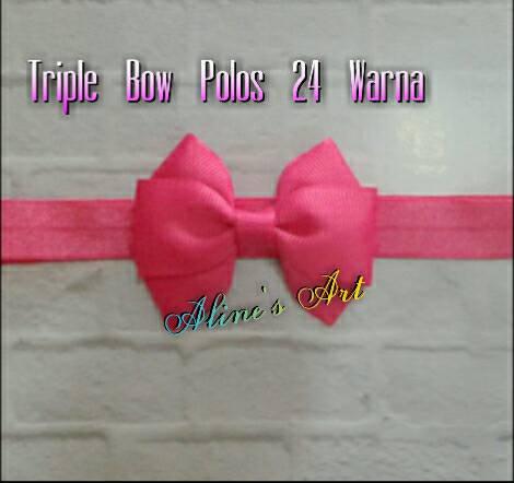 Bandana bayi/baby headband - Triple Bow Polos - Blanja.com