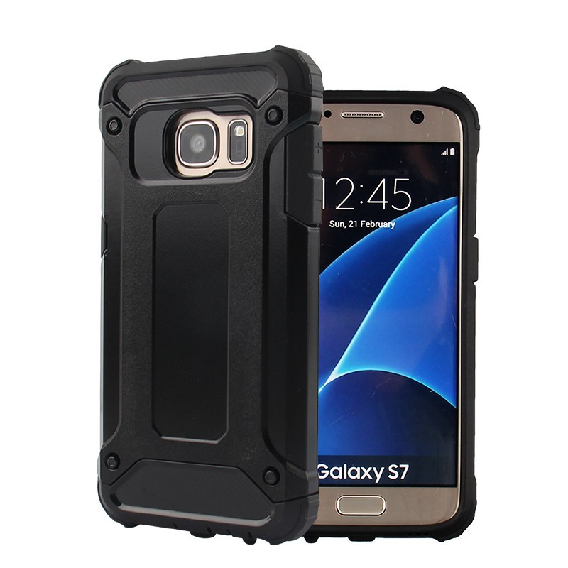 Samsung Galaxy S7 Flat Defender Armor Case - Soft Gel  Polycarbonate