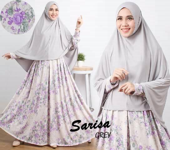 Gamis Syari Cantik Sarisa Grey (Murah Modern Terbaru Modis)