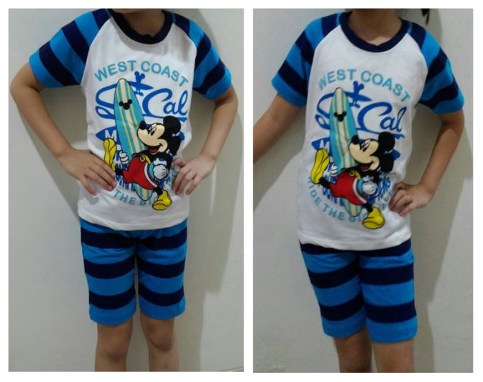 STKDL208 - Setelan Anak Laki White Blue Stripe Mickey West Coast Murah
